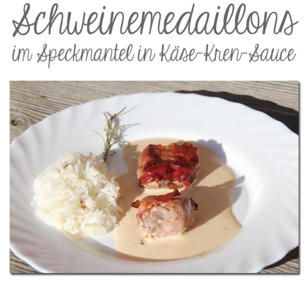 Schweinemedaillons im Speckmantel in Käse-Kren-Sauce