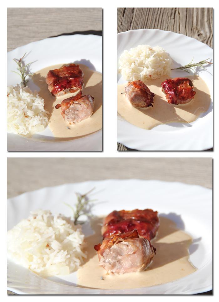 Schweinemedaillons im Speckmantel in Käse-Kren-Sauce1